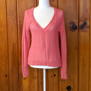 Neon Pink Fishnet Sweater Roxy Size large